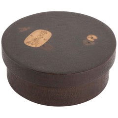 Round Japanese Covered Lacquer Box with Coin Motif in Gold