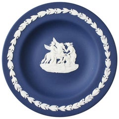 Round Jewelry Dish with Pegasus in Cobalt Blue England, Wedgwood