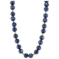 Round Kyanite Beaded Necklace with 22 and 18 Karat Spacers