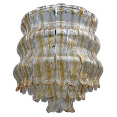 Round La Murrina Chandelier Italian Design Transparent Yellow Murano Glass, 1960