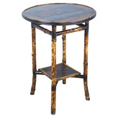 Round Lacquered Bamboo Side Table