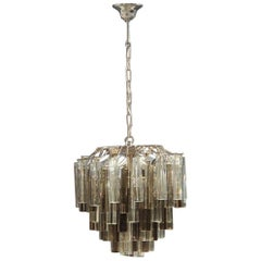 Round Lantern Venini Chandelier Triedri Black and Transparent Glass, 1960s
