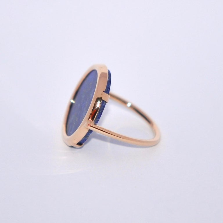 Discover this Round Lapis lazuli and Rose Gold 18 Karat Cocktail Ring. Lapis Lazuli Rose Gold 18 Karat French Size  52 US Size 6