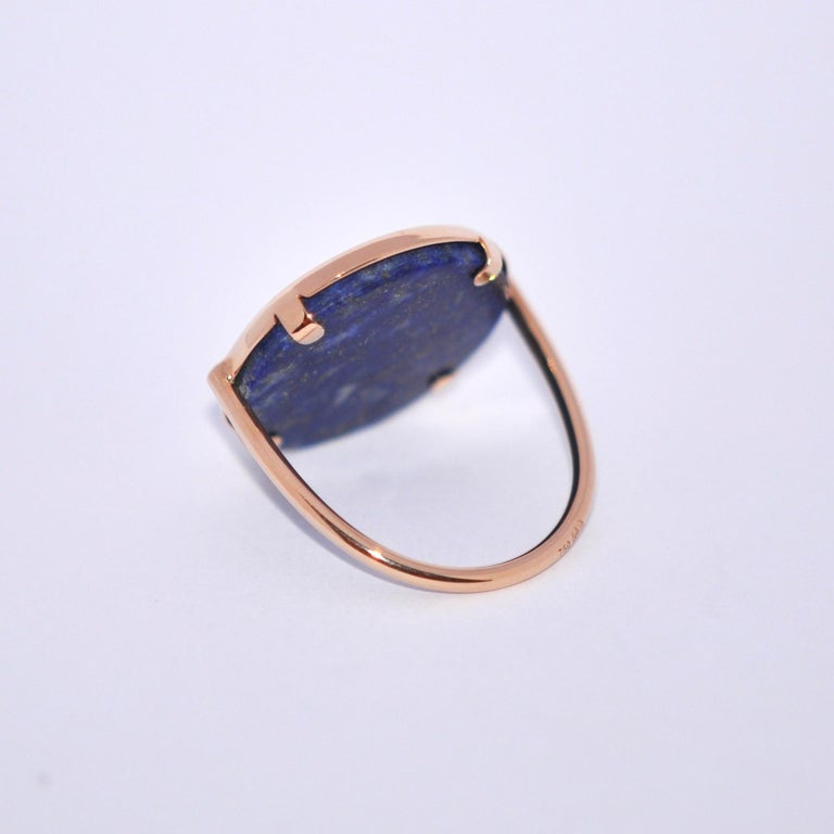 Round Lapis Lazuli and Rose Gold 18 Karat Cocktail Ring In New Condition For Sale In Vannes, FR