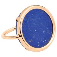 Round Lapis Lazuli and Rose Gold 18 Karat Cocktail Ring