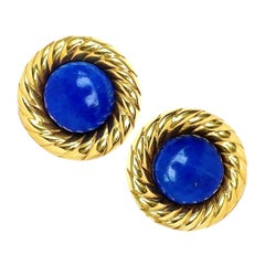 Round Lapis Lazuli and Yellow Gold Contemporary Clip Earrings