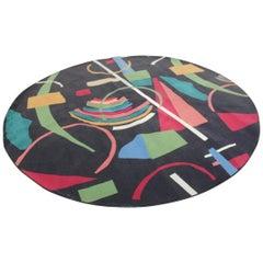 Round Large Carpet Diameter Black with Multicolored Italian Design, 1960