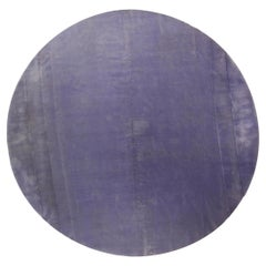 Round Lavender Hand Knotted Mohair Rug
