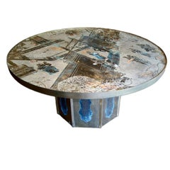 Round LaVerne Etched Bronze Coffee Table