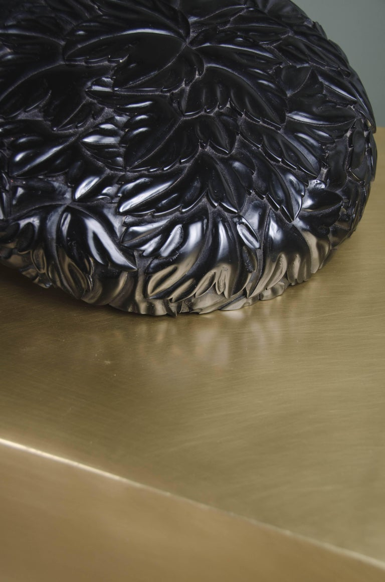 Contemporary Round Leaf Design Box, Black Lacquer by Robert Kuo, Limited Edition, in Stock For Sale