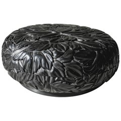 Round Leaf Design Box, Black Lacquer by Robert Kuo, Limited Edition, in Stock