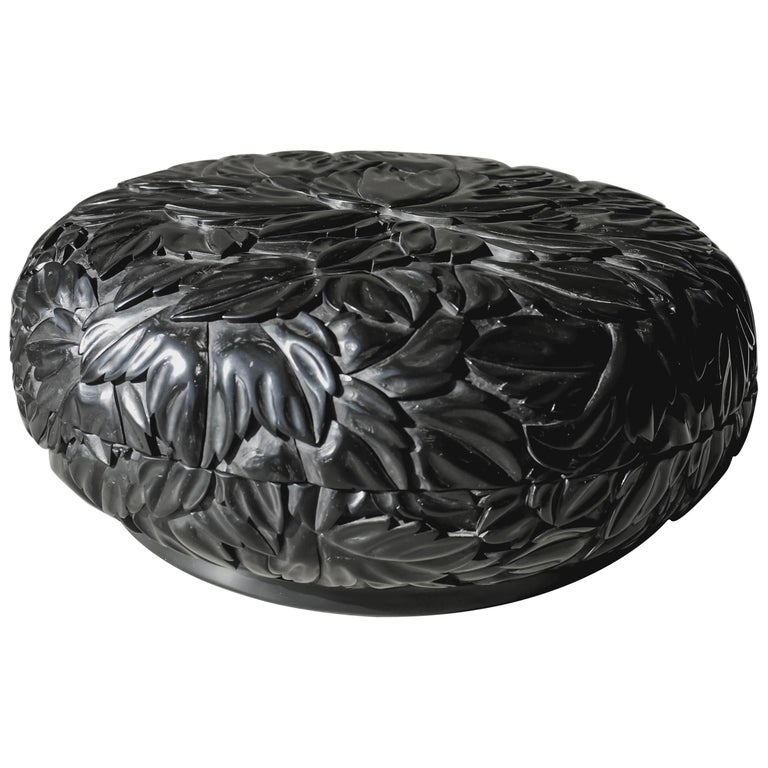 Round Leaf Design Box, Black Lacquer by Robert Kuo, Limited Edition, in Stock For Sale
