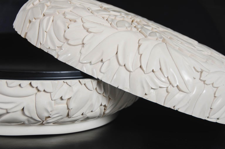 Contemporary Round Leaf Design Box - Cream Lacquer by Robert Kuo, Limited Edition, in Stock For Sale