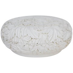 Round Leaf Design Box - Cream Lacquer by Robert Kuo, Limited Edition, in Stock