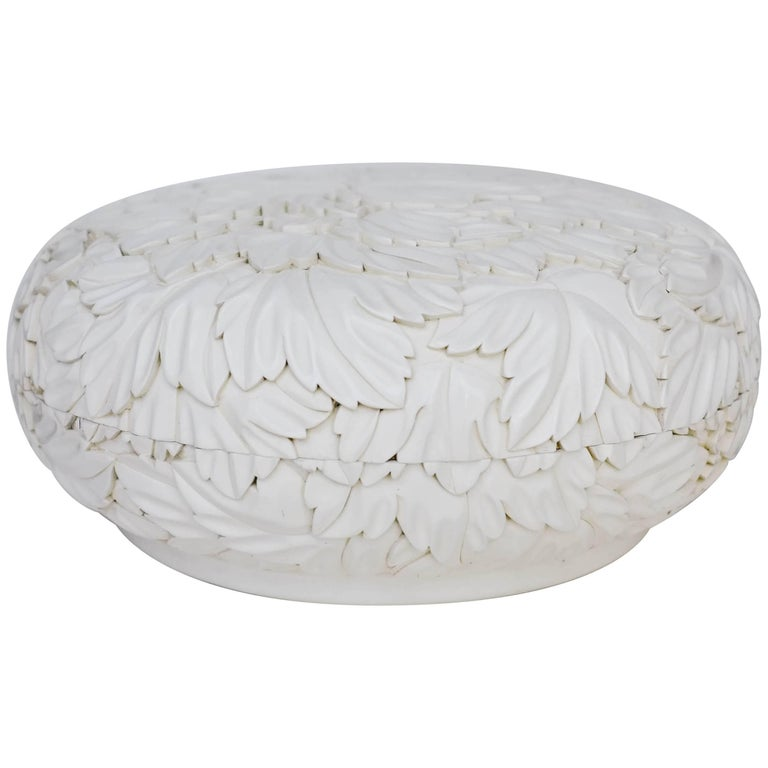 Round Leaf Design Box - Cream Lacquer by Robert Kuo, Limited Edition, in Stock For Sale