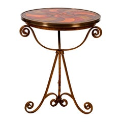Round Leather Top Table with Iron Base