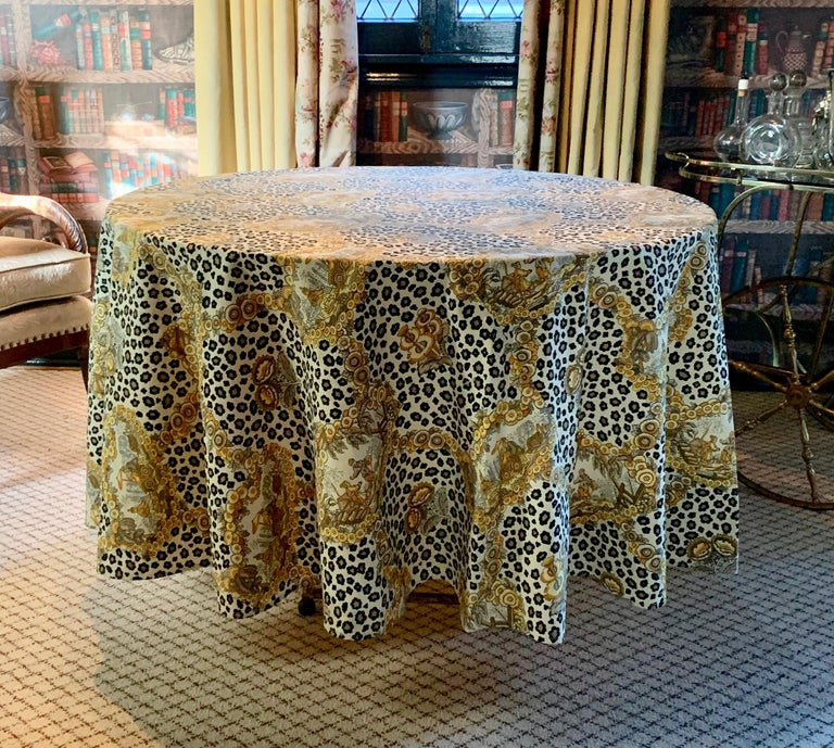 Stunning leopard and chinoiserie table cloth - a handsome statement in style, starting the conversation before the first drink, this cloth is the appetizer.