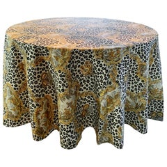 Round Leopard and Chinoiserie Tablecloth