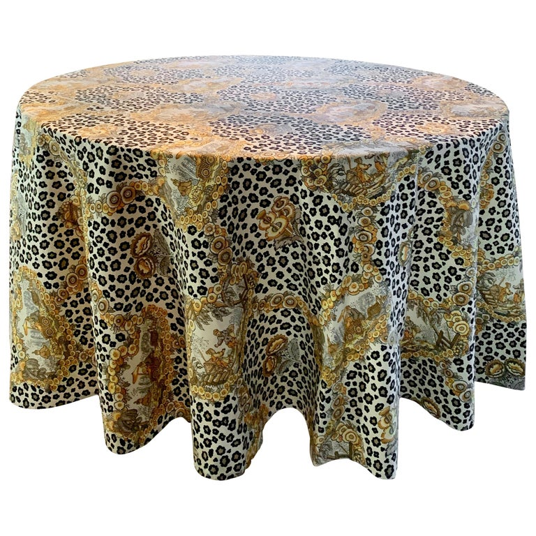 Round Leopard and Chinoiserie Tablecloth For Sale