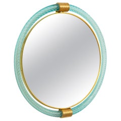 Round Light Blue Twisted Rope Murano Glass Mirror, in Stock