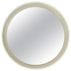 Round Lighted Mirror in White Lacquered Wood by CRB, 1960s