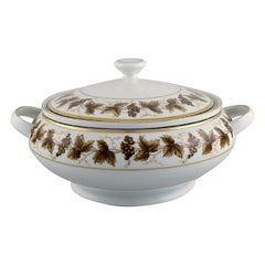 Round Limoges Porcelain Lidded Tureen with Hand-Painted Grapevines