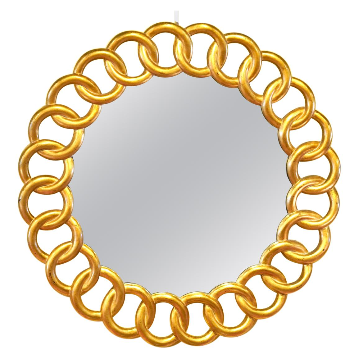 Round Linked Giltwood Rings Wall Mirror by Harrison & Gil for Dauphine Mirror Co