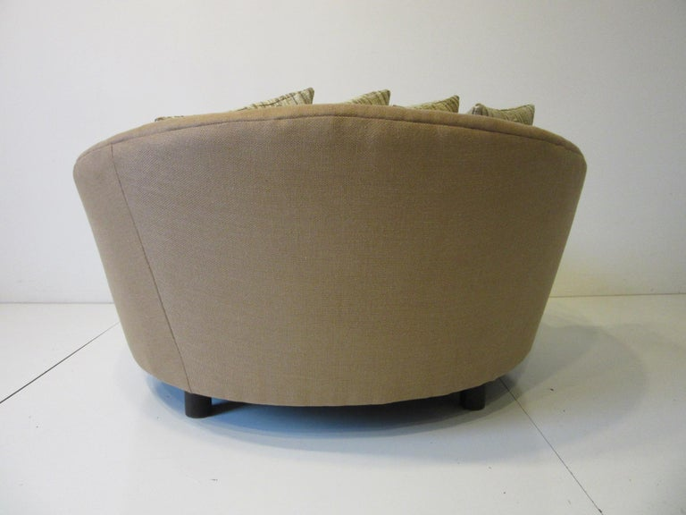 Upholstery Round Lounger / Sofa Chair in the Style of Baughman / Pearsall For Sale