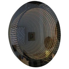 Round Lucite Infinity Mirror by Raphael Fenice