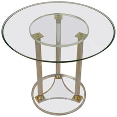 Round Lucite with Brass Side Table, Modern Design Table, France, 1970s