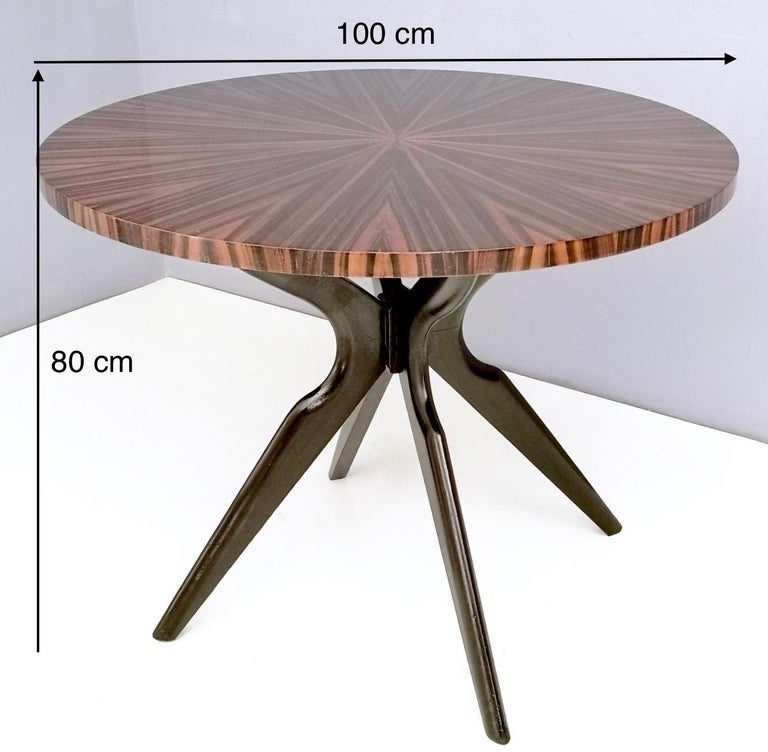 Round Macassar Ebony and Ebonized Beech Dining Table, Italy, 1950s-1960s For Sale 8