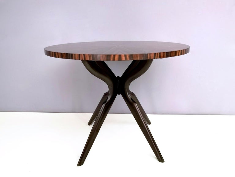 Mid-Century Modern Round Macassar Ebony and Ebonized Beech Dining Table, Italy, 1950s-1960s For Sale