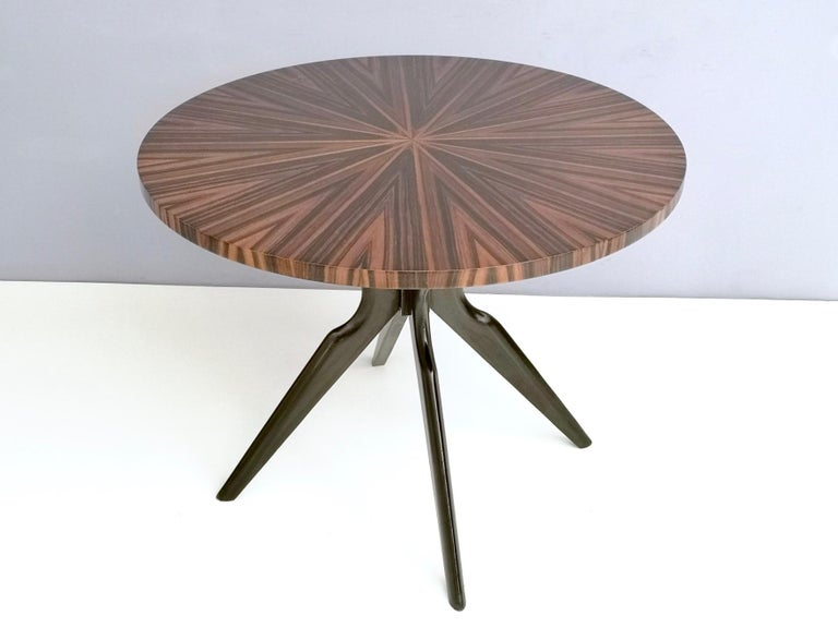 Mid-20th Century Round Macassar Ebony and Ebonized Beech Dining Table, Italy, 1950s-1960s For Sale