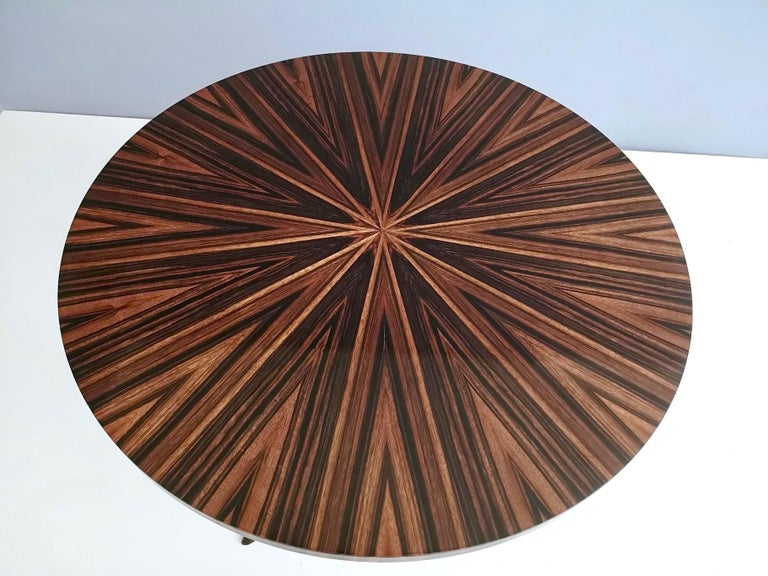 Round Macassar Ebony and Ebonized Beech Dining Table, Italy, 1950s-1960s For Sale 1