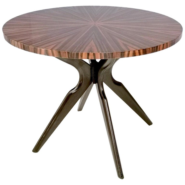 Round Macassar Ebony and Ebonized Beech Dining Table, Italy, 1950s-1960s For Sale