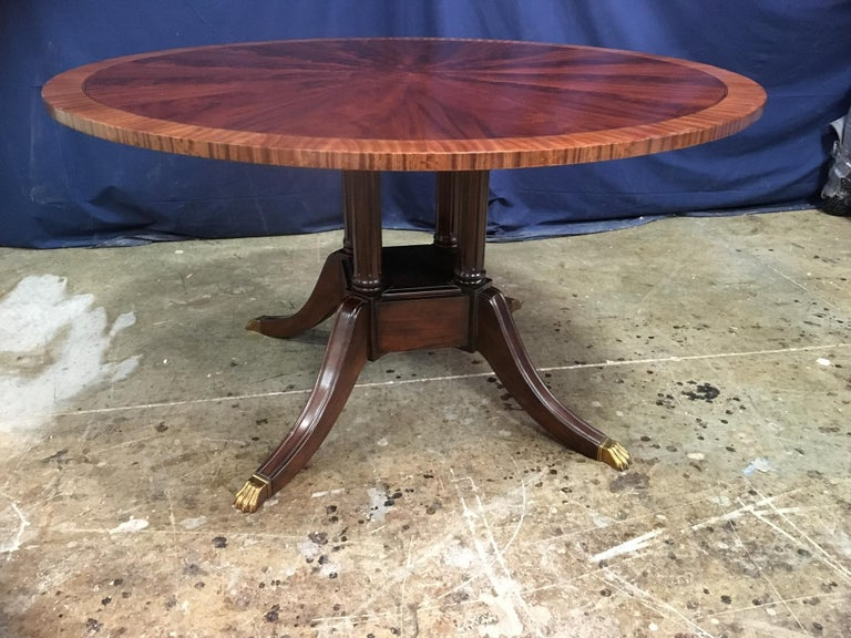 Round Mahogany Georgian Style Pedestal Dining Table by Leighton Hall For Sale 3