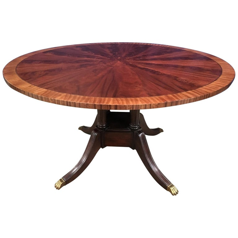 Round Mahogany Georgian Style Pedestal Dining Table by Leighton Hall For Sale