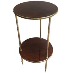Round Mahogany and Brass Side Table, French, circa 1950