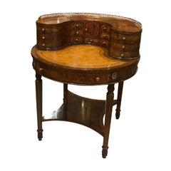 Round Mahogany and Walnut Carlton House Desk by Maitland Smith