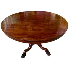 Round Mahogany Dining Table/ Game Table with Foliate Carved Legs and Paw Feet