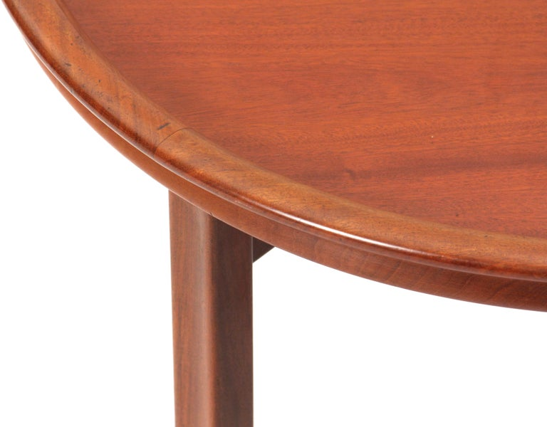 Scandinavian Modern Round Mahogany Side Table Attributed to Ole Wanscher For Sale