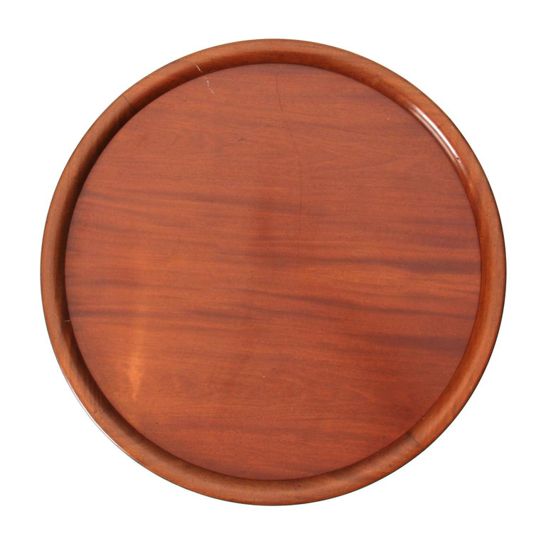 Danish Round Mahogany Side Table Attributed to Ole Wanscher For Sale