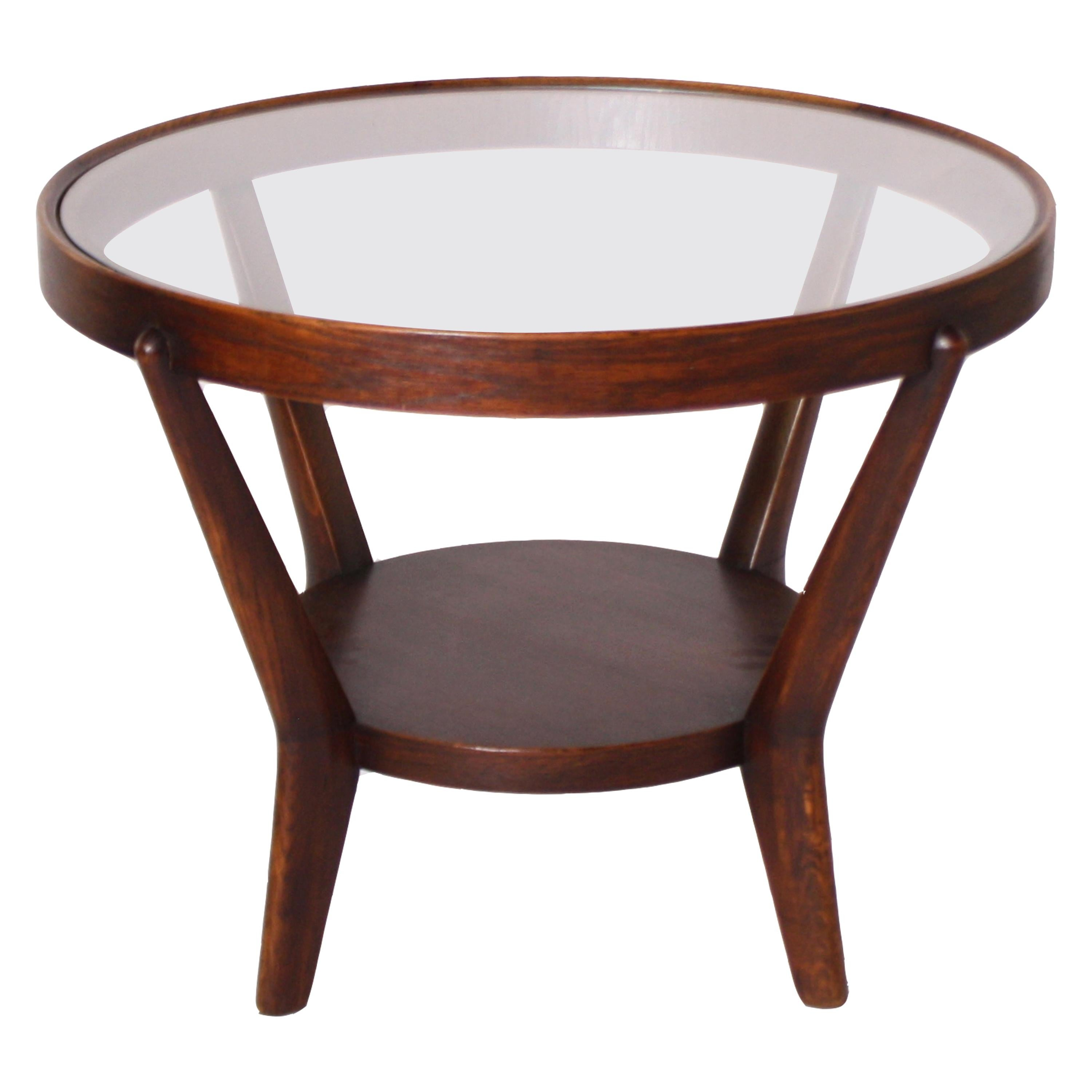 Round Mahogany Table with Glass Top, circa 1950