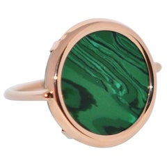 Round Malachite and Rose Gold 18 Karat Fashion Ring