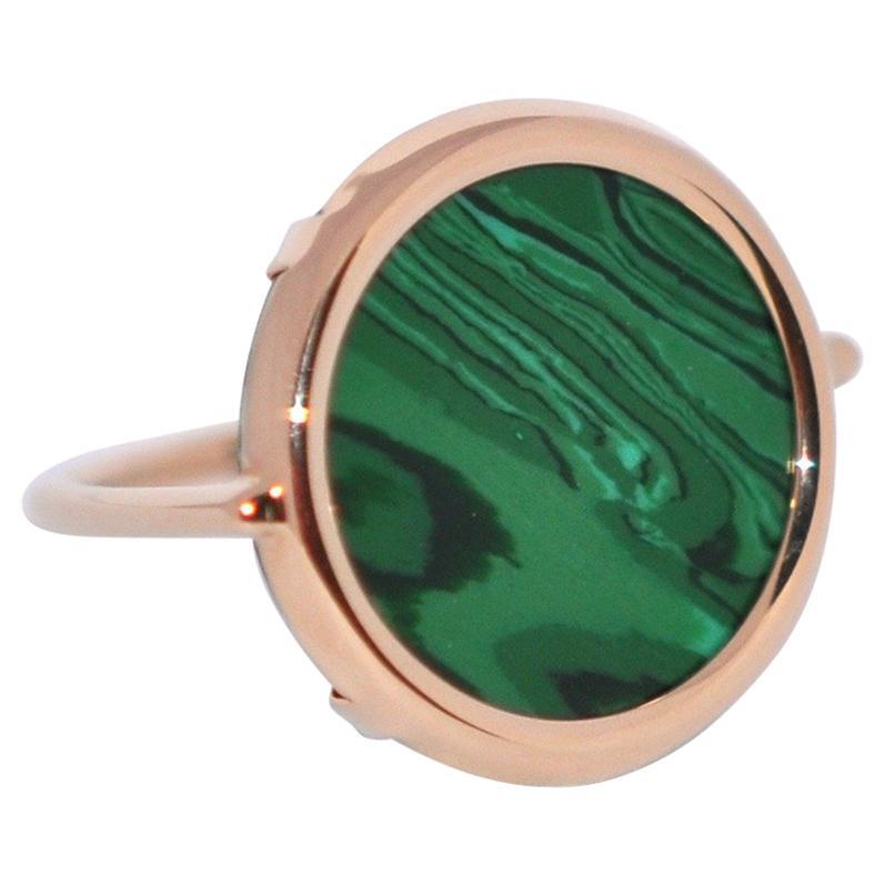 Round Malachite and Rose Gold 18 Karat Fashion Ring