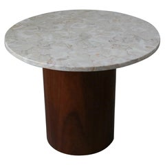 Round Marble and Walnut Drum Side Table