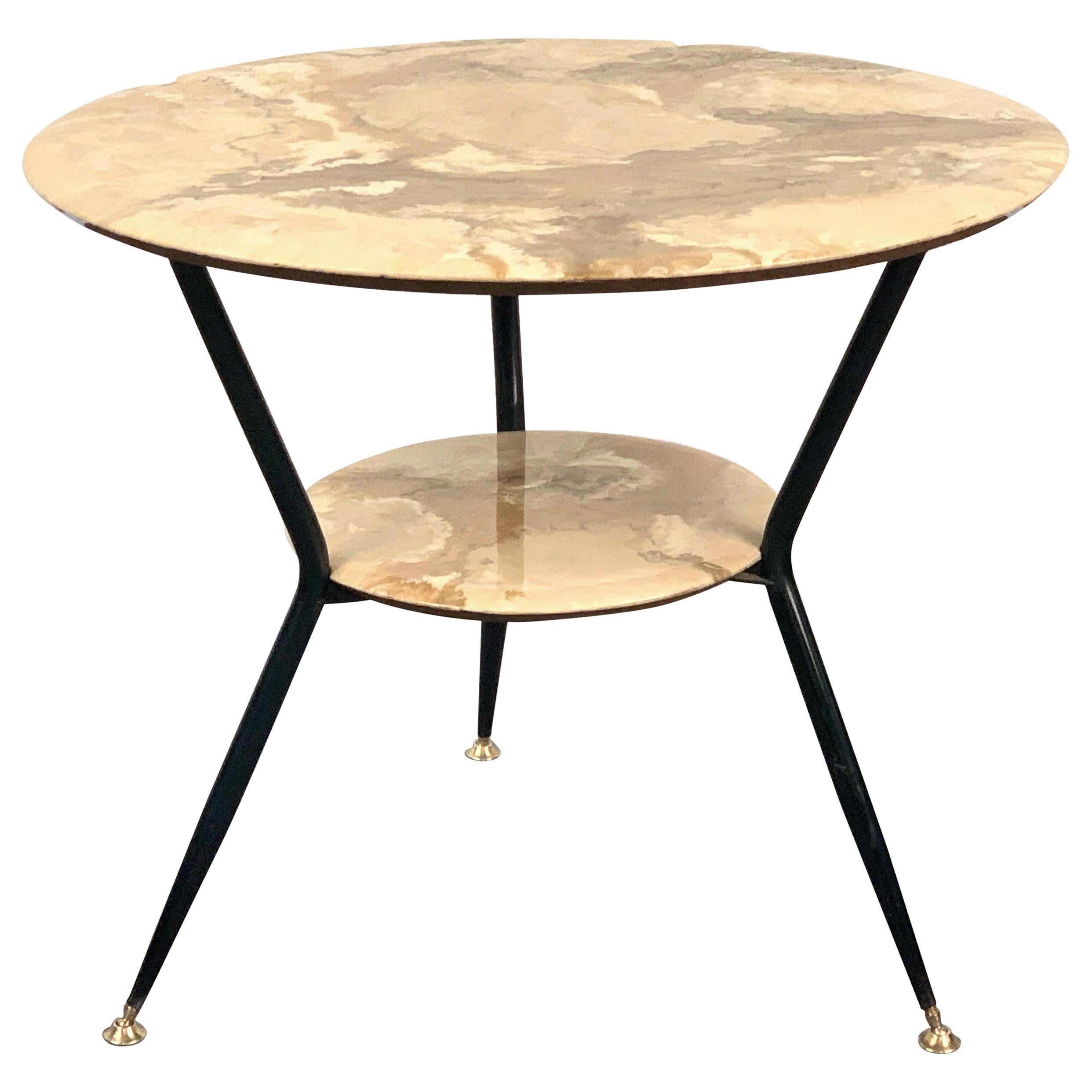 Round Marble and Wood Coffee Double Level Italian Table with Brass Feet, 1950s