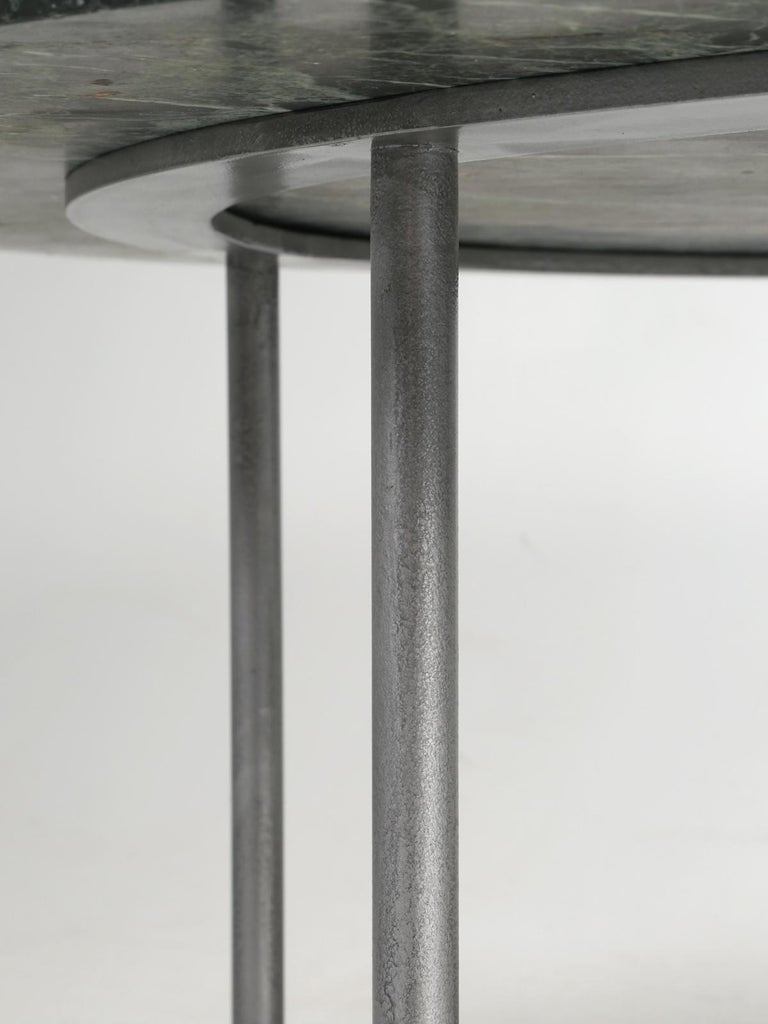 Round Marble Dining Table with a Steel Base for Indoor or Outdoor Use For Sale 5