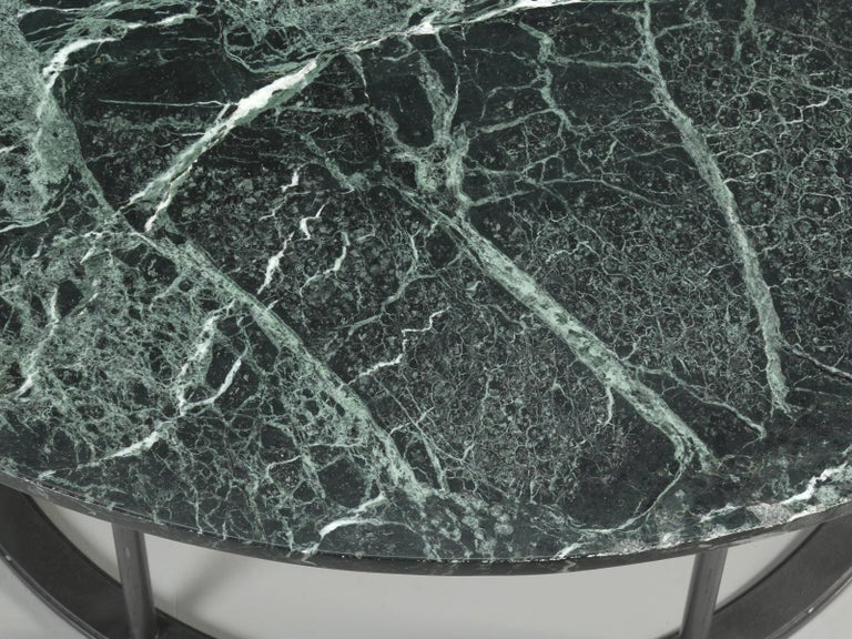 Mid-20th Century Round Marble Dining Table with a Steel Base for Indoor or Outdoor Use For Sale