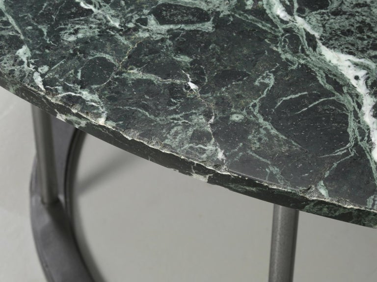Round Marble Dining Table with a Steel Base for Indoor or Outdoor Use For Sale 1